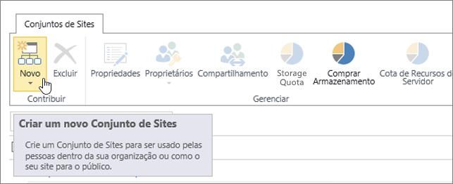 Página Conjunto de Sites com a opção Novo selecionada