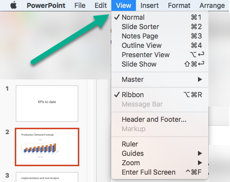 No menu Exibir no PowerPoint
