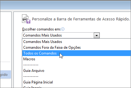 Personalizar o menu Escolher comandos da Barra de Ferramentas de Acesso Rápido