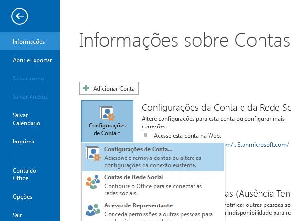 Você pode encontrar a opção Configurações da Conta no painel de Informações sobre Contas.