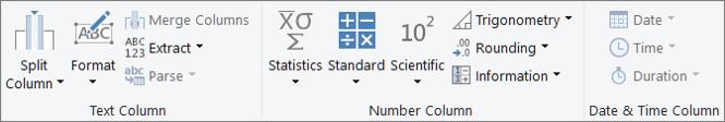 Os grupos de tipos de dados na guia Adicionar Faixa de Opções de Coluna