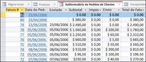 Uma tabela de dados com guias que podem ser reorganizadas