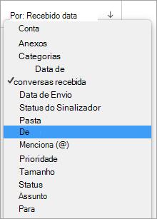Mostra a seleção de no menu por