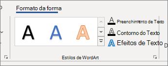 Grupo de opções de estilos de WordArt