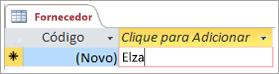 Trecho de tela da ID na tabela Fornecedor