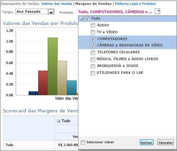 """Caixa de diálogo mostrando """"Todos,"""" """"Computadores"""" e """"Câmeras & Câmeras de Vídeo"""" selecionados"""