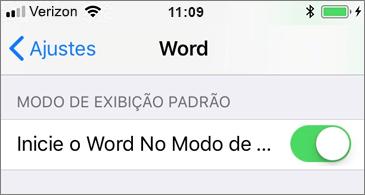 Configuração Iniciar o Word no modo de exibição Móvel selecionada