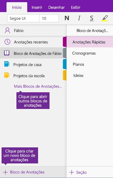 Captura de tela de como criar um novo bloco de anotações do OneNote