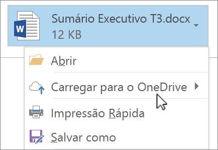 Captura de tela de uma janela de redação do Outlook, mostrando um arquivo anexado com o comando Carregar selecionado.