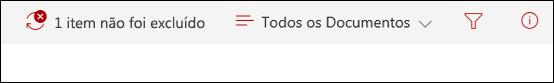 Mensagem de que o item não foi excluído do SharePoint