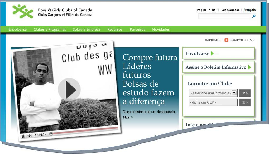 Instantâneo do site da BGCC