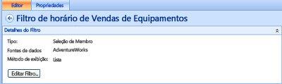 Captura de tela do filtro de tempo de vendas de equipamentos