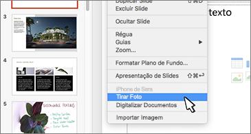Slide com o comando Tirar Foto selecionado no menu de contexto