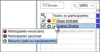 Clique no ícone que se encontra à esquerda do nome e, em seguida, clique em Recurso