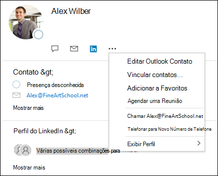 Selecione vincular contatos para atualizar as informações de outro registro de contato.