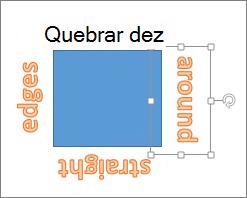 Adicionando WordArt em torno de uma forma com bordas retas
