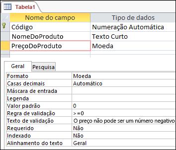 Regra de validação de campo exibida no designer de tabela do Access