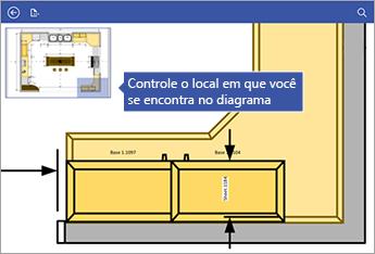 A janela Panorâmica no canto superior esquerdo da tela ajuda a saber onde você está no diagrama.