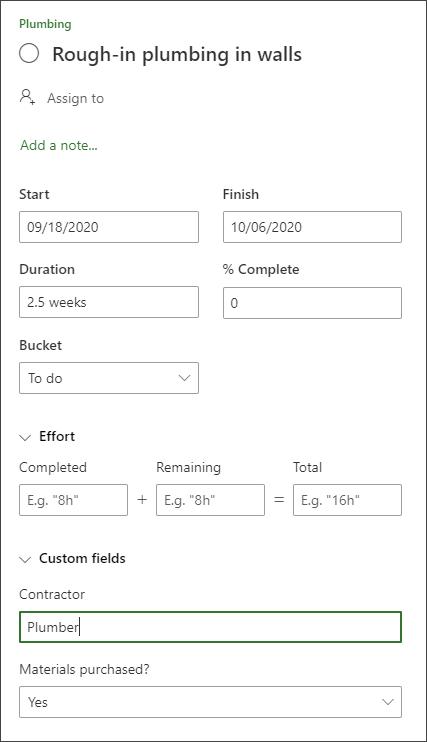 Captura de tela do painel detalhes de uma tarefa mostrando a seção campos personalizados