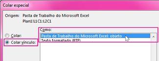 Escolher o Microsoft Excel