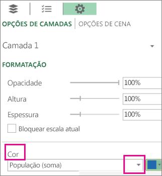 Caixa de listagem Séries de Dados para a lista suspensa Cor