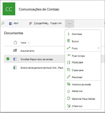 Comandos de menu suspenso contextual