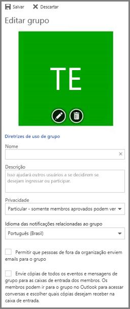 """Clique em """"Diretrizes de uso"""" para ver as diretrizes dos grupos do Office 365 da sua organização"""