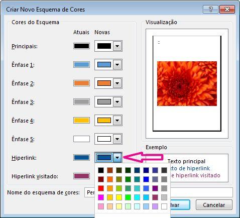 Crie um novo esquema de cores no Publisher para alterar as cores dos hiperlinks