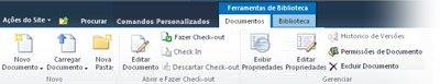 faixa de opções de documentos