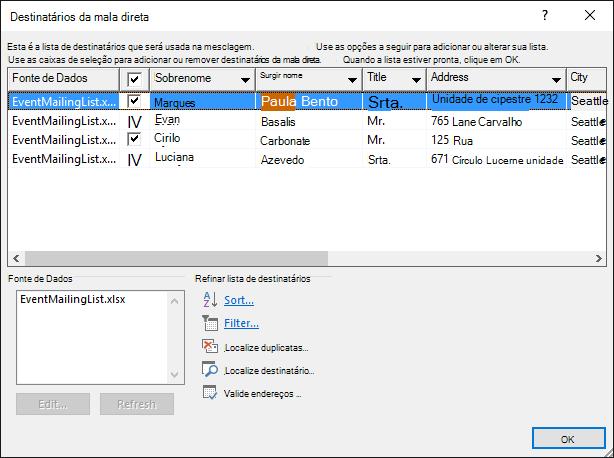 Caixa de diálogo Destinatários da mala direta que mostra o conteúdo de uma planilha do Excel usada como uma fonte de dados para uma lista de endereçamento