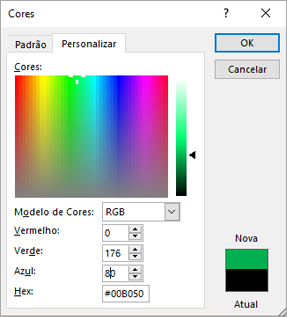 Mostra as cores personalizadas