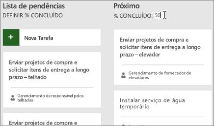 Captura de tela do Painel de tarefas, com o cursor inserindo o número 50 como % concluído.
