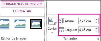 Caixas Altura e Largura na guia Formatar de Ferramentas de Imagem