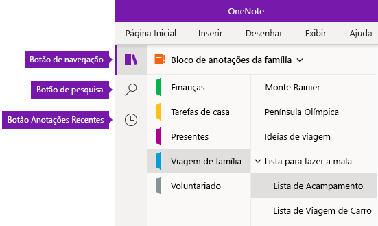 Barra de navegação no OneNote para Windows 10