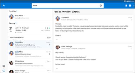 Modo de exibição lado a lado dos resultados da pesquisa de contatos e emails do contato selecionado