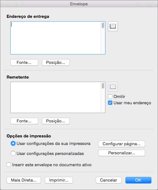 Insira endereços e configure estilos e opções na caixa de diálogo Envelope.