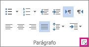 Na guia Página Inicial, clique na seta do inicializador para abrir a caixa de diálogo Parágrafo.