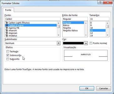 Caixa de diálogo Formatar com sobrescrito selecionado.
