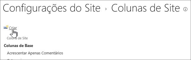 Botão criar na página colunas do site
