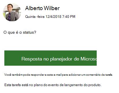 Captura de tela: mostrando um exemplo de uma mensagem de email de grupo que você pode receber.