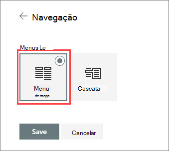 Opção do menu imagem de mega
