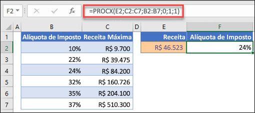 Imagem da função PROCX usada para retornar uma taxa de imposto com base na renda máxima. Esta é uma correspondência aproximada. A fórmula é: =PROCX(E2;C2:C7;B2:B7;1;1)