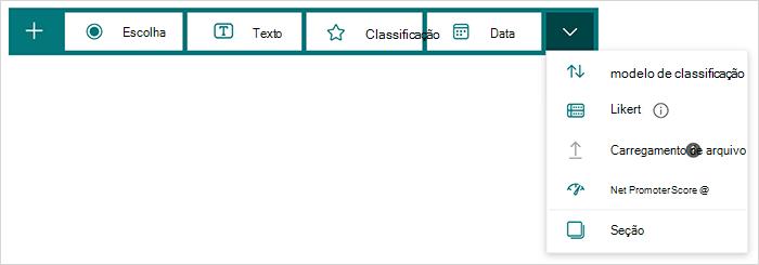 Opções de tipo de pergunta no Microsoft Forms