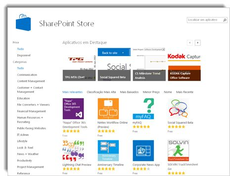 Captura de tela da SharePoint Store