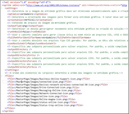 Captura de tela de um arquivo XML de entidade gráfica