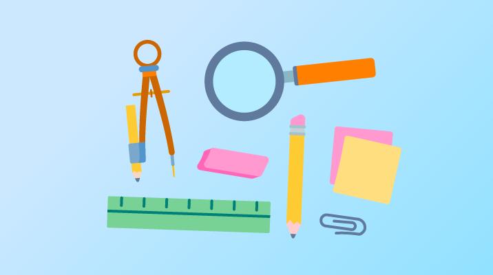 Uma variedade de materiais escolares: régua, transferidor, lápis etc.