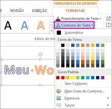 Galeria Cores de Contorno de Texto encontrada na guia Formatar Ferramentas de Desenho