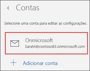 Contas no aplicativo Email