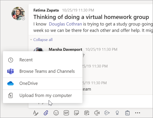 Escolha o arquivo para adicionar a uma mensagem em uma equipe de aula