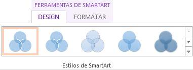 Grupo Estilos de SmartArt, na guia Design de Ferramentas de SmartArt